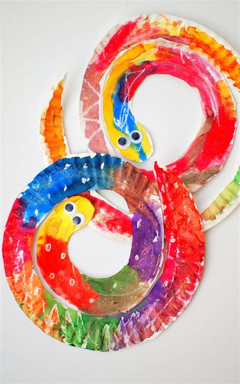 Paper Plate Snake Craft - easy and colorful paper plate snakes pink stripey socks