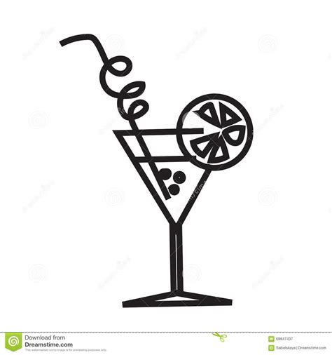 cocktail clipart black and white minimalist black cocktail image stock vector image 68847437