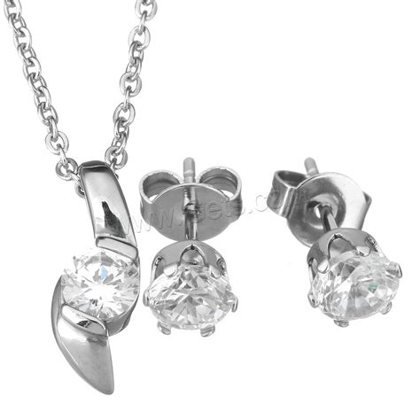 Steel Earrings With Cubic Zirconia cubic zirconia stainless steel jewelry sets earring