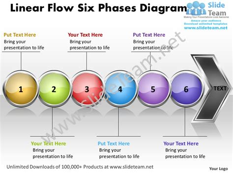 Business Power Point Templates Linear Flow Six Phases Diagram Free Sa Process Flow Powerpoint Template Free