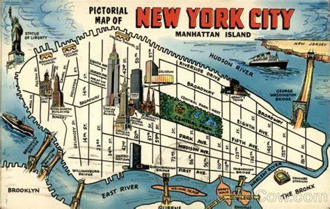 map of manhattan island pictorial map of new york city manhattan island