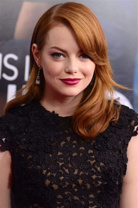 emma stone earrings emma stone red old hollywoods hair style hot pink lips