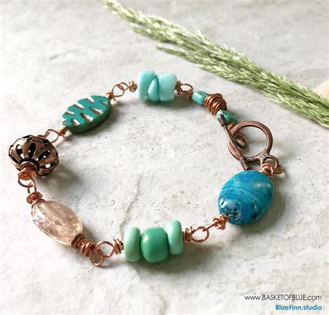 copper bead bracelet turquoise bead copper bracelet basket of blue