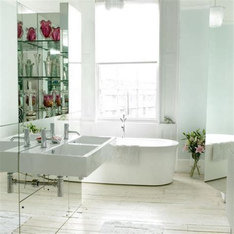 mirrored bathroom walls contemporary bathroom mirrored wall housetohome co uk