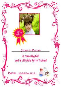 Bedroom Door Signs girl photo potty training certificate