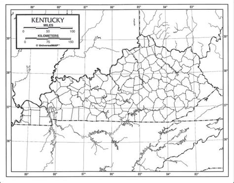 kentucky map latitude longitude outline maps laminated and paper product browse