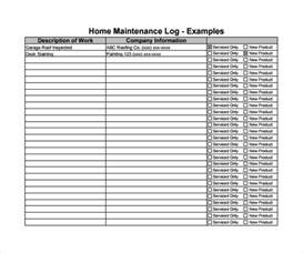 Maintenance Log Template Free by Sle Maintenance Log Template 9 Free Documents In Pdf
