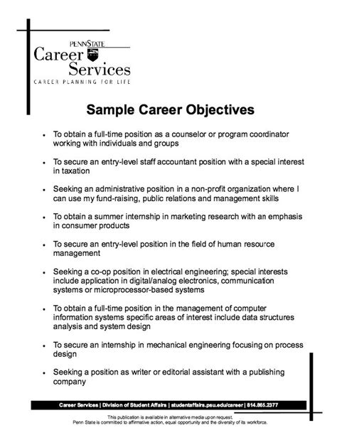 best 25 career objectives sles ideas on