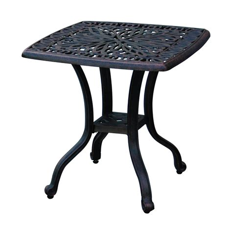 Square Patio Tables Shop Darlee Elisabeth 21 In W X 21 In L Square Aluminum End Table At Lowes