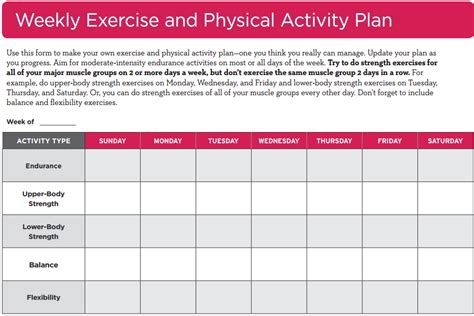 weekly exercise and physical activity plan go4life