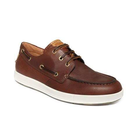 ecco deck shoes ecco eisner boat shoes in brown for bison brown lyst