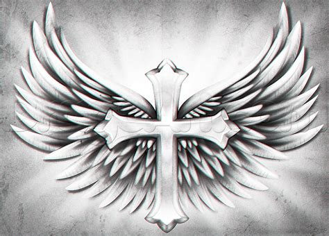 cross and angel wings tattoo how to draw a cross with wings step by step symbols pop