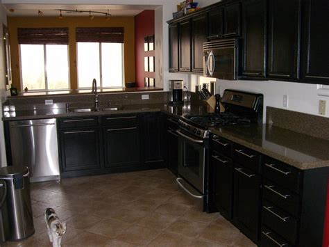 Rustic Black Kitchen Cabinets Black L Shaped Black Kitchen Cabinets With Rustic Gray Floor Tile Kitchen Dickorleans