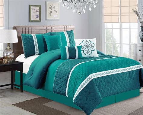 teal curtains and bedding 11 quilted diamond leaf lace ornate comforter curtain set