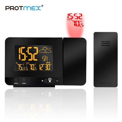 protmex radio contraolled projection alarm clock weather