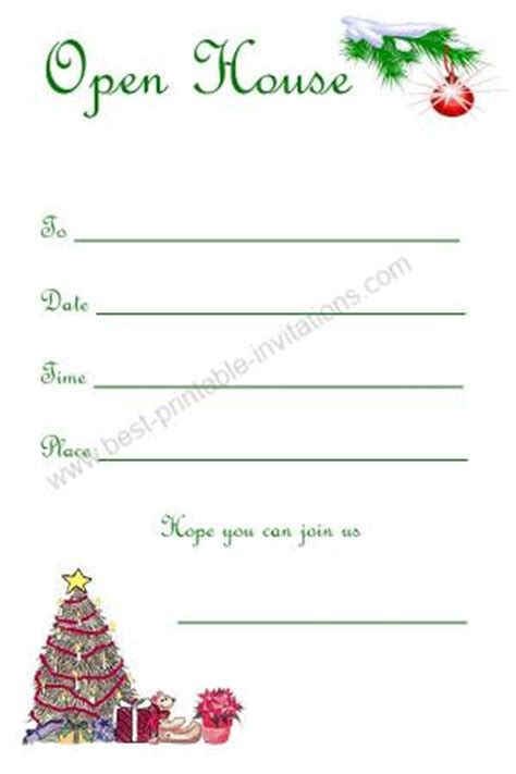 printable christmas open house invitations christmas open house invitations