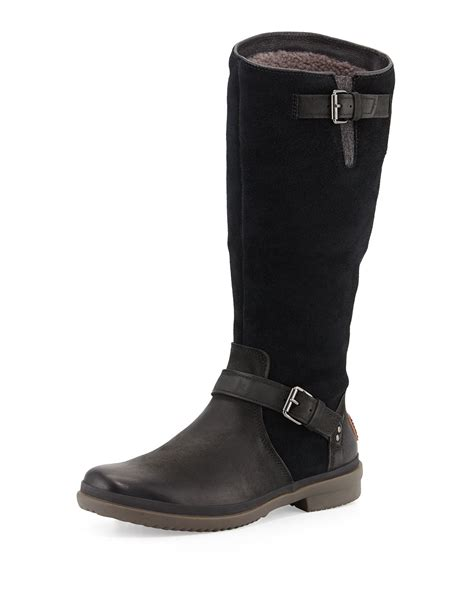 black leather ugg boots ugg thomsen weather resistant suede and leather boots in