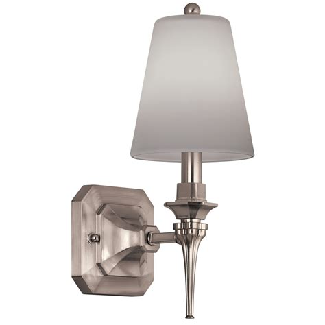 Brushed Nickel Sconces Shop Portfolio 5 In W 1 Light Brushed Nickel Arm Wall
