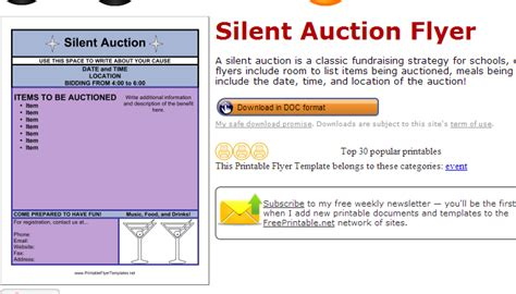 auction brochure template 5 silent auction flyer templates af templates