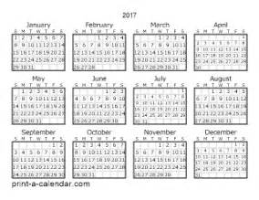 2017 calendar one page yearly calendar printable