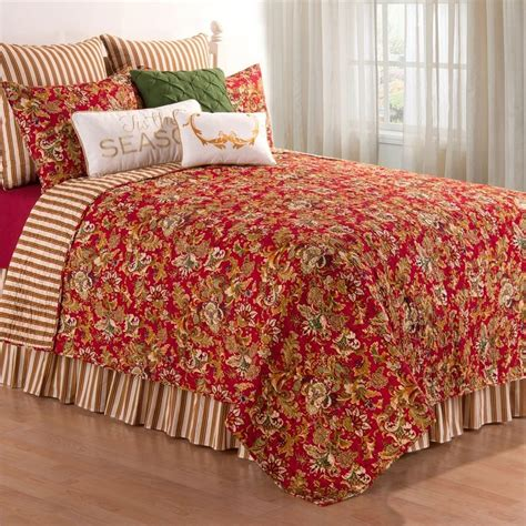 c and f bedding red jocelyn full queen quilt 90 quot x 92 quot