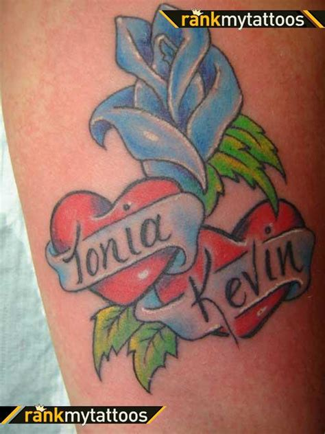 what goes with rose tattoos blue with name banner design