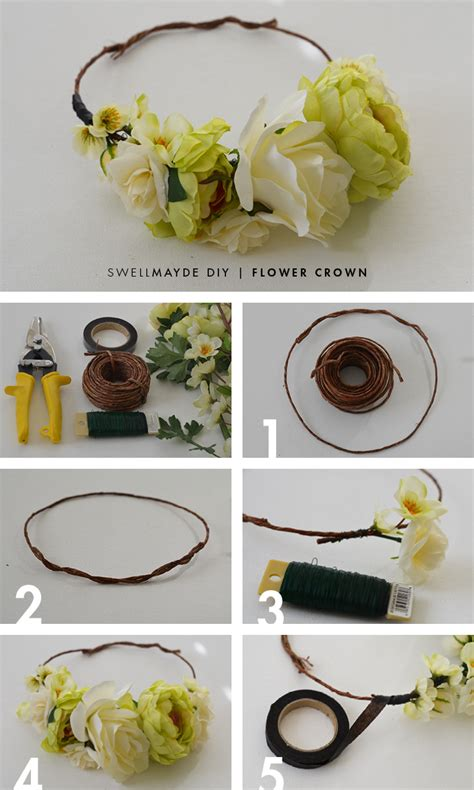 diy flower crown swellmayde diy flower crown