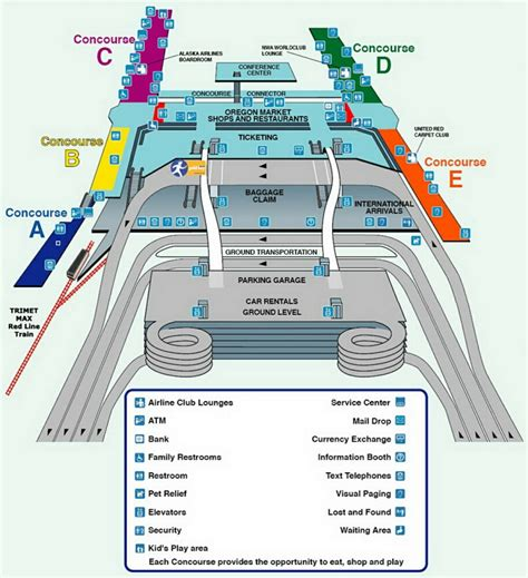 portland airport map airport terminal map portland airport terminal jpg