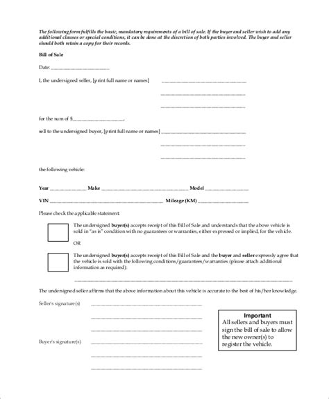 vehicle bill of sale printable carsut understand cars and