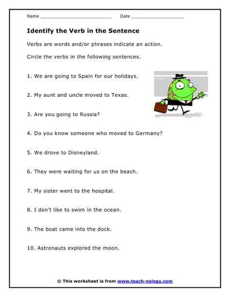 Identify The Subject Of A Sentence Worksheet by Identify Verbs In A Sentence Worksheet Popflyboys