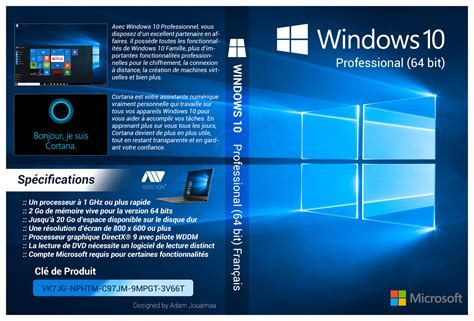 Dvd Windows 10 windows 10 pro 64 bit francais cover dvd hd by adamjouamaa