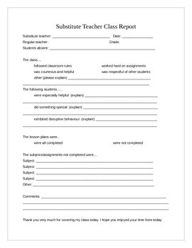Substitute Teacher Feedback Form By Salle 3 Teachers Pay Teachers Substitute Report Template