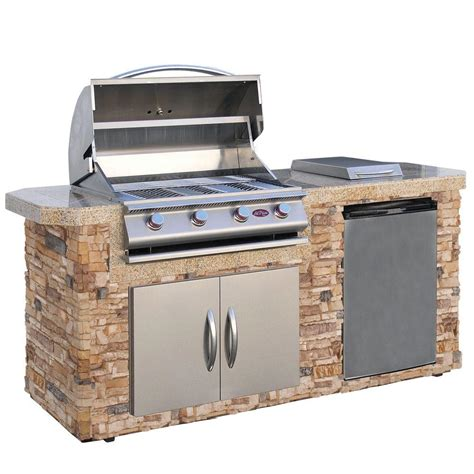 backyard grill 3b cal flame 7 ft natural stone grill island with 4 burner