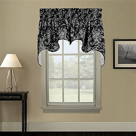 black swag curtains buy pargo window curtain swag valance in black from bed
