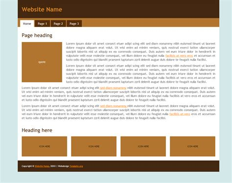 free html5 css3 template brown one column fixed