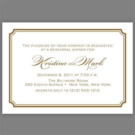 Wedding Dinner Invitation Card Template by Wedding Rehearsal Dinner Invitation Simple Script