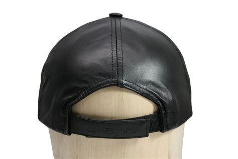 Leather Baseball Cap distressed black leather baseball cap