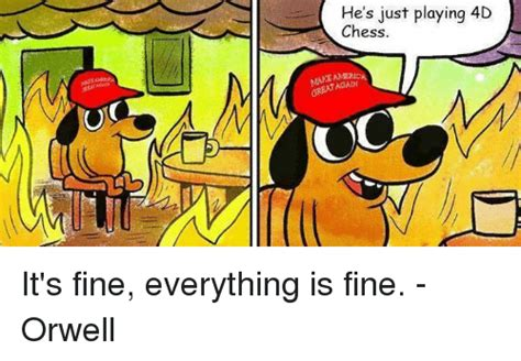 Everything Is Fine Meme - he s just playing 4d chess america again it s fine