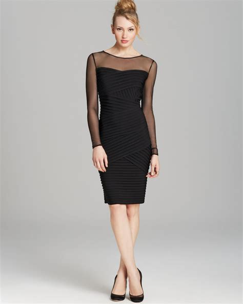 best black dress calvin klein mesh top ribbed dress in black lyst