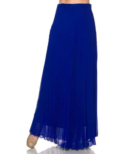 cobalt blue pleated maxi skirt