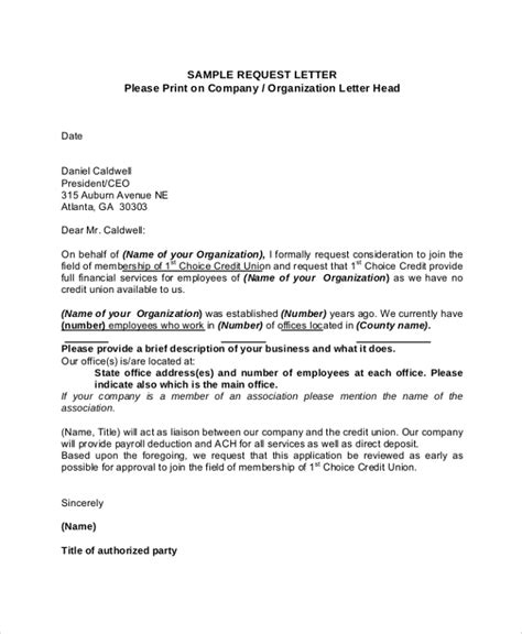 Request Letter With Purpose Sle Formal Request Letter 8 Documents In Pdf Word