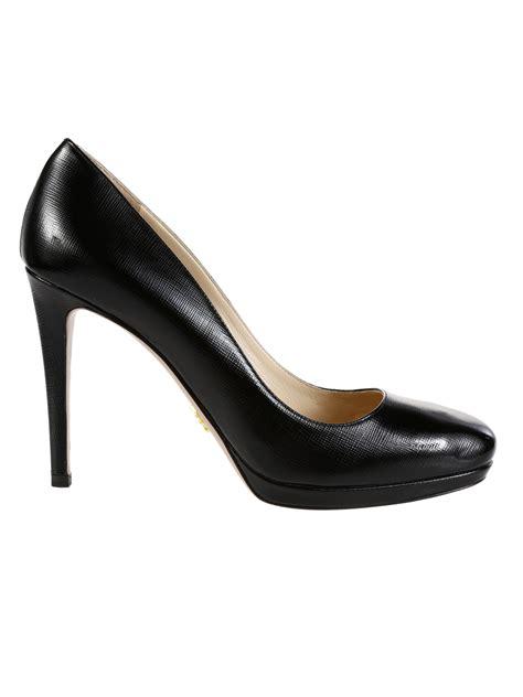 black patent leather pumps prada saffiano print patent leather pumps in black lyst