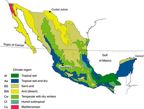 map of mexico regions mexico s seven climate regions geo mexico the geography