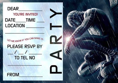 spiderman  printable invitation templates invitations