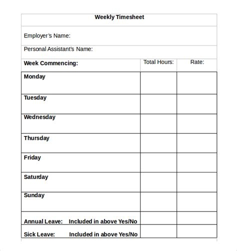 free simple time card template 21 weekly timesheet templates free sle exle