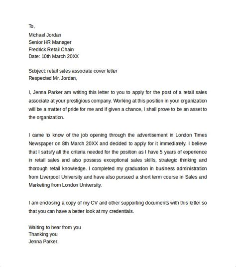 Cover Letter For Retail Sales by Retail Cover Letter Templates 8 Sles Exles Formats