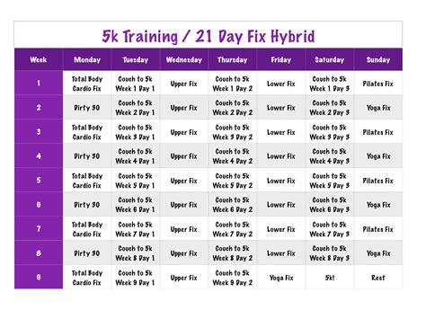 to 5k results 5k 21 day fix hybrid i workout 21 day