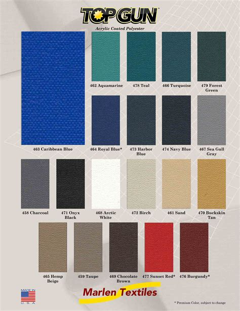 tope the color marlen textiles top gun acrylic coated polyester fabric