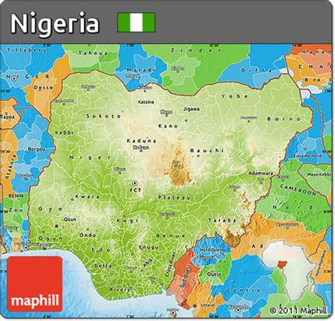political map of nigeria ezilon maps free physical map of nigeria political outside shaded