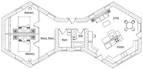 Cabin Blueprints Floor Plans hexagon straw bale house plans